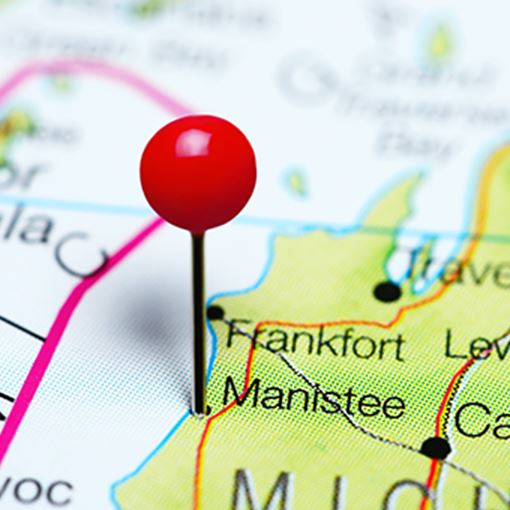 Manistee pinned on a map